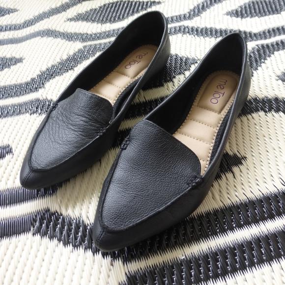 4e003817c47 Me Too Black Leather pointed toe flats loafers. M 5af1eb412ab8c5fcc17e54d1